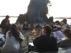 Island biogeography seminar on the beach with undergrads at Bamfield Marine Science Center, Vancouver Island, BC - 2019